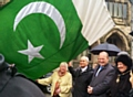 Mayor Carol Wardle, Gulam Shahzad OBE, Simon Danczuk MP  and Mayoress Beverley Place at the raising of the Pakistani flag (upside down!) at Rochdale Town Hall