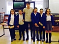 James King with pupils at St Luke�s Primary School