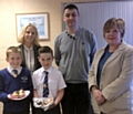 Thomas Rigg & Max Rigsby, Mrs Ruane, Head Teacher, Terry Mowe, The Village Bakery and Jenny Blake, Chairman of FPTA