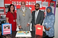 South Street Nursery celebrates 80th birthday<br /> Headteacher Jo Fenton, Mayor Surinder Biant, Parent Governor Sajjad Miah and Governor Sohida Banu