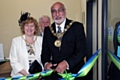 Mayor of Rochdale, Surinder Biant, and Mayoress Cecile Biant officially opening the new Shopmobility premises