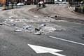 Debris on Edinburgh Way following accident