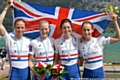 Brianna Stubbs, Ruth Walczak, Emily Craig and Eleanor Piggott smiling with delight after winnig a World Championships Silver Medal