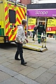 Ambulance outside the Scope charity shop where a woman had a seizure