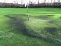 Damage to a green at Tunshill Golf Club