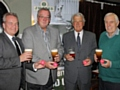 Richard Lees-Jones along with brewery  & PCL officials celebrate the Cup draw
