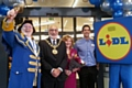 Town Crier Peter Taunton, Mayor and Mayoress, Surinder and Cecile Biant and Lidl Store Manager Benji Steele