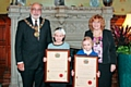 Elysia Jo-Crossley and Amelia Harrison with Mayor Surinder Biant and Mayoress Cecile Biant