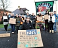 Dr Rory Hicks and supporters outside the Royal Oldham Hospital