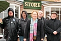 The Leader of the Green Party Natalie Bennett with local party members outside the Co-operative Museum on Toad Lane