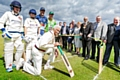 Official opening of the new Pennine Cricket League<br />Mayor of Rochdale Surinder Biant cuts the ribbon<br />Tommy Lees, Keelan Shipley and Cec Wright in the foreground