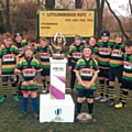 Littleborough RUFC minis with the U20s championship trophy