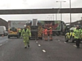 Severe delays as crashed lorry blocks all lanes on M62