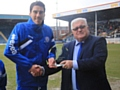 Peter Vincenti presented with a PFA Community Champion Award by Andrew Kelly