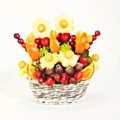 Daisy Fruit Bouquet<br/ > Supersweet Pineapple Daisies with Cantaloupe Melon Pearls, Apple Truffles coated with our gourmet Belgian Chocolate and finished with sprinkles, Fresh Juicy Strawberries, Red Seedless Grapes and Juicy Oranges