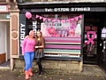 Winner of the Best Dressed Window: Lindsey Stansfield and Linzi Walker outside Beauty Boutique