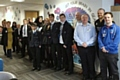 Students of Kingsway Park High School at the mentoring session with CEO Adam Bates, Chairman Mark Wynn, Head coach and community manager Alan Kilshaw and customer service apprentice James Cannings