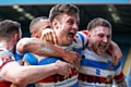 Hornets players celebrate the win against Dewsbury Rams