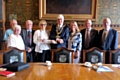 Vivien Carter presents a cheque for �500 to Mayor Ian Duckworth for his charity appeal