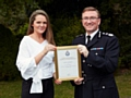 Bianca Sharples receiving her award from Chief Constable Ian Hopkins