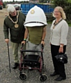Mayor Ian Duckworth and Mayoress Christine Duckworth with veteran Mark 'Monkeytoes' Dunn at Sapperfest 2017