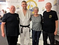 Warren Schofield, Dave Hulme, Eileen Stafford and Brian Stafford at the East Anglian Judo Open