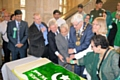 The cake-cutting ceremony in the Town Hall after the Pakistani flag was raised