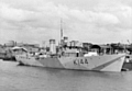 The newly-completed HMS Corvette Meadowsweet at her builder's yard in Bristol