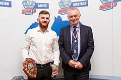 Lewis Hatton with Rochdale Hornets president Paul Ormerod