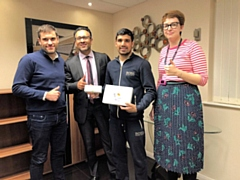 L-R: Gerald Zammit, Dexcom's Head of Europe and Ireland, Asad Shamim, Ali's Manager, Muhammad Ali, and Tilly Bather, Dexcom's Head of UK