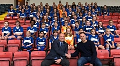 Rochdale AFC director David Bottomley with Jonathan Lumb from Jonathan James Lettings with Rochdale AFC Ladies teams