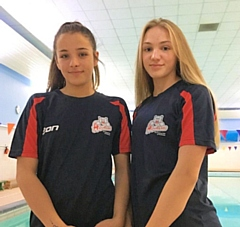 Swimmers Lucy Cannavan and Amarai Hoque from Aquabears Swimming Club