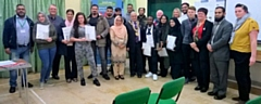Newly-qualified community and sports leaders with Mayor Mohammed Zaman and Councillors Allen Brett, Janet Emsley and Sameena Zaheer, alongside course directors and community members