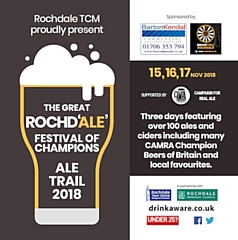 The Great Rochd�ale� Festival of Champions: Ale Trail 2018 � Pubs in Rochdale Town Centre, Thurs 15, Fri 16 & Sat 17 November