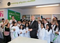 Sir Peter Ogden opens a brand new �Phiz Lab� at Lowerplace Primary School, Kingsway