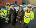 Ben Levy, GMFRS Group Manager, Elaine and  Sergeant John Brennan, GMP Road Policing Unit