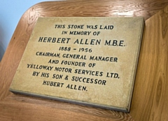 The restored memorial stone originally placed in the wall of the new travel centre by Hubert Allen in memory of his father back in 1969 and now unveiled by his family on the ground floor of Number One Riverside in Rochdale
