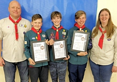 Scout Leader Malcolm Fallon, Aiden Fallon, Rhys Connah, Connor Marshall, Group Scout Leader Steph Banks