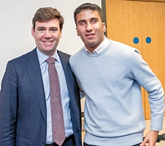 Mayor of Greater Manchester Andy Burnham with England and Liverpool Blind Football player Azeem Amir from Rochdale