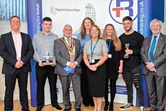 Rochdale Training 49th Apprenticeship Awards with MP for Rochdale Tony Lloyd far right,, Mayor Mohammed Zaman, Rochdale Training Chief Executive, Jill Nagy (centre) Paul Simkiss Managing Director of Simkiss Control Systems Ltd (far left),