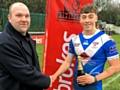 Mayfield's Matty Ashton being presented with the man-of-the-match award by the BBC's Dave Woods