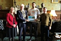 Mehran Khan with the Mayor and Mayoress, Ian and Christine Duckworth, and boxing coach Steven Connellan