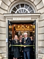 Mayor Ian Duckworth cuts the ribbon officially opening the Medicine Tap watched by owners John Stoner and Caroline Norton, and the Mayoress Christine Duckworth