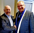 CRE owner Steve Goddard with Rochdale AFC Chairman Chris Dunphy