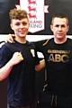 Queensway ABC boxer Joe Crawford with head coach David Hodkinson