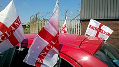 Car with England flags