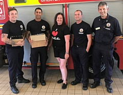 Motorbikers Cosmetic Company's Beki Coxton and Mark Matthews provide much-needed relief to Greater Manchester Fire and Rescue Service