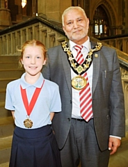 New Children's champion Millie Connor with the Mayor, Mohammed Zaman