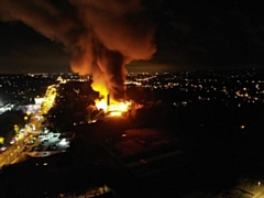 Huge fire at mill on Greenfield Lane
