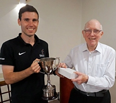 Dean Watson receiving the Jim Cattlin Memorial Cup from President John Culshaw
